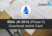 Download IRDA Junior Officer Admit Card 2016 (Phase II)-min
