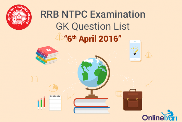 RRB-NTPC-GK-Exam-Questions-6-April-2016