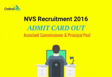 NVS Admit Card 2016