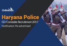 Haryana Police GD Constable Recruitment 2017 Notification Re-advertised