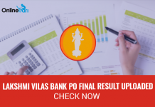 Lakshmi Vilas Bank PO Final Result