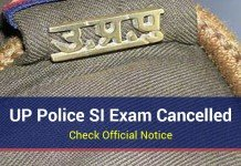 UP Police SI Exam Cancelled: Check Official Notice