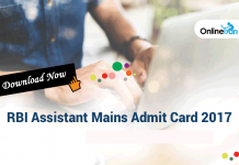 RBI Assistant Mains Admit Card 2017 Released: Download Call Letter