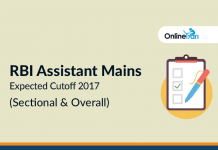 RBI Assistant Mains Expected Cutoff 2017 (Sectional & Overall)