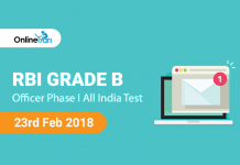 RBI Grade B Officer 2018 Phase I All India Test (AIT) | 23rd Feb 2018