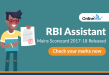 RBI Assistant Mains Scorecard 2017-18 Released: Check your marks now