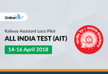 Railway Assistant Loco Pilot All India Test (AIT) | 14-16 April 2018